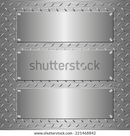 metallic texture with three banners - stock vector