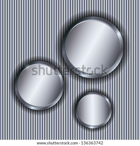 Metallic vector background with circle copy spaces. - stock vector