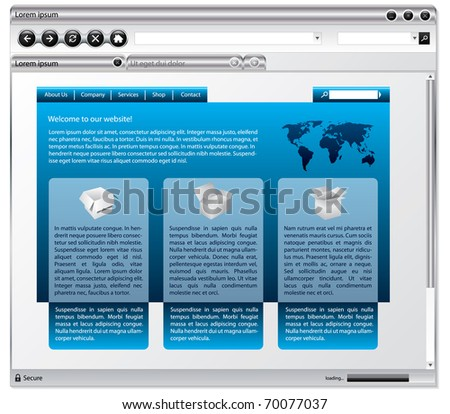 Metallic web browser design with webpage - stock vector
