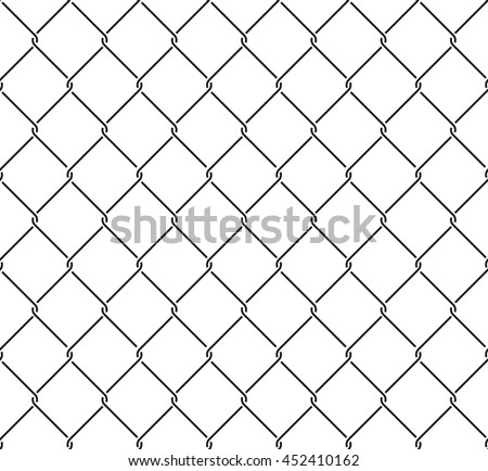 Metallic wired fence seamless pattern. Steel wire mesh isolated on white background. Vector illustration in EPS8 format. Pattern swatch included. - stock vector
