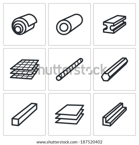 Metallurgy products icons set - stock vector