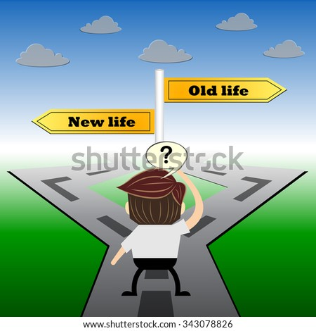 metaphor humour design , New life and old life choice road sign concept, - stock vector