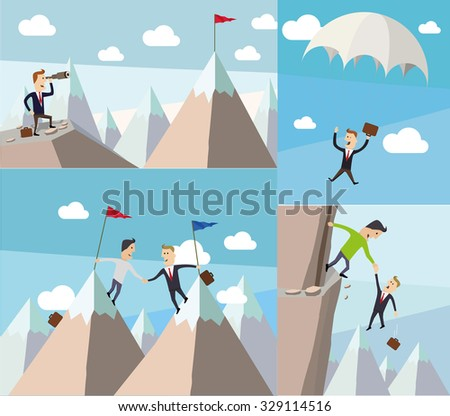 Metaphor of cooperation and safety . Flat vector concepts illustrations. - stock vector