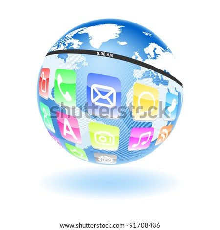 Metaphor of Information Age and Internet around world - stock vector