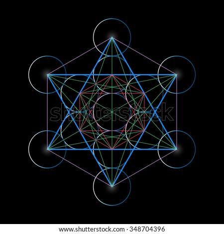 Metatron's Cube. Basics of Sacred geometry, vector Illustration. - stock vector
