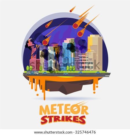 meteor impact the city. diaster concept - vector illustration - stock vector