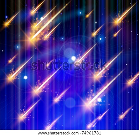 Meteor rain, Space & Stars. Vector illustration. Eps 10 - stock vector