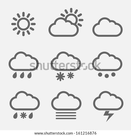 Meteorology weather icons with modern design - stock vector