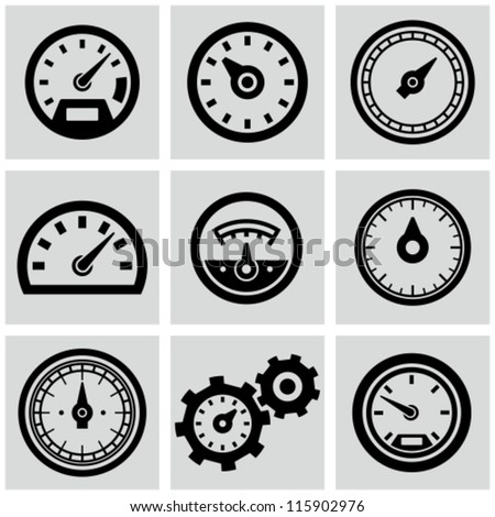 Car Icon Set Meter Icons Set Stock Vector