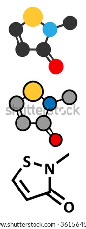 Methylisothiazolinone (MIT, MI) preservative molecule. Often used in water-based products, e.g. cosmetics. Stylized 2D renderings and conventional skeletal formula.  - stock vector