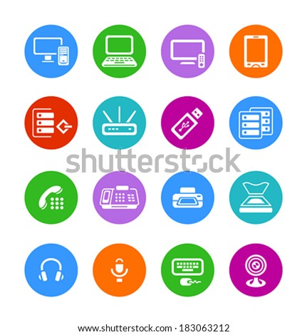 Metro-style flat round office electronics icons - stock vector