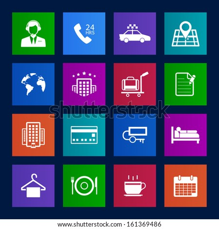 Metro style Hotel and Hotel Services Icons - stock vector