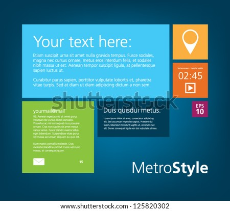 Metro style interface theme for business design, websites (UI) or applications (app) for smartphones or tablets - stock vector