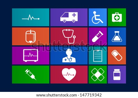 Metro-style Medical Icons Collection Vector icon set. EPS 10 - stock vector