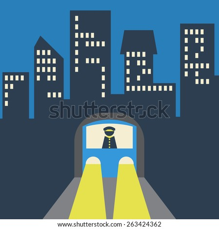 Metro, Subway, Underground Train Icon on the Background of the City.Vector illustration - stock vector