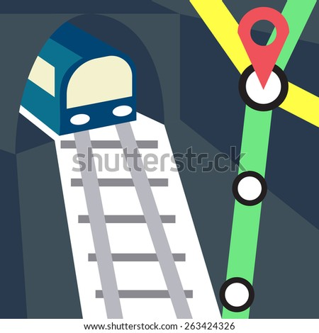 Metro, Subway, Underground Train Icon With the Pointer on the Intersection of Railway Lines.Vector illustration - stock vector