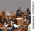 metropolitan city illustration - stock vector