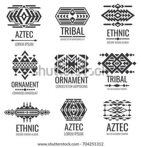 Mexican Aztec Symbols Vintage Tribal Vector Stock Vector 704251312