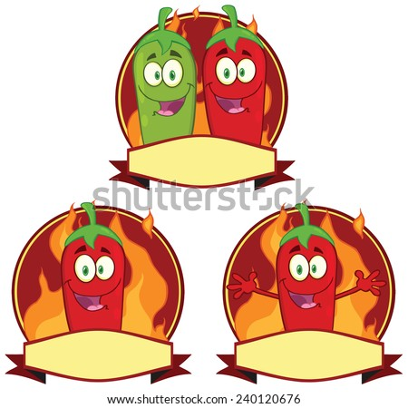 Mexican Chili Peppers Cartoon Mascot Label. Vector Collection Set - stock vector