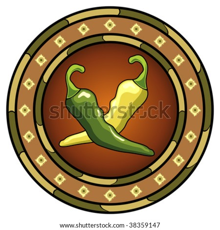 Mexican chili peppers round logo over white - stock vector