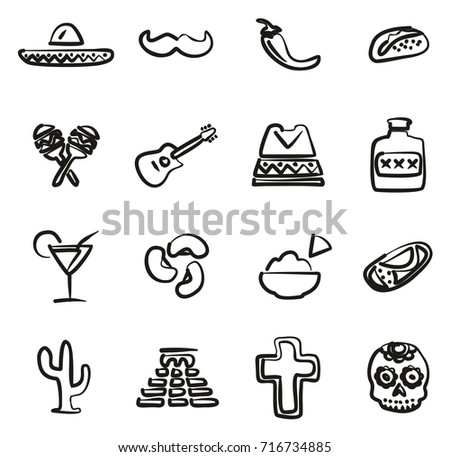 Mexican Culture Icons Freehand Stock Vector 716734885 Shutterstock