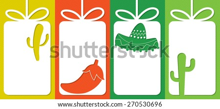 Mexican cut out tag collection in vector format. - stock vector