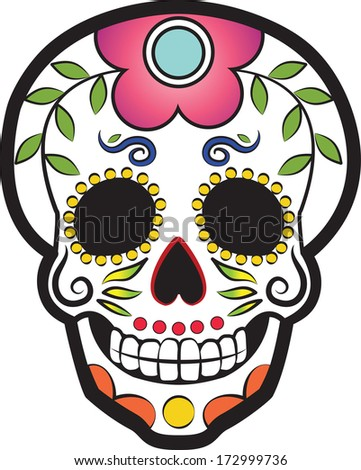 Mexican Day of the Dead Sugar Skull. EPS 10 - stock vector