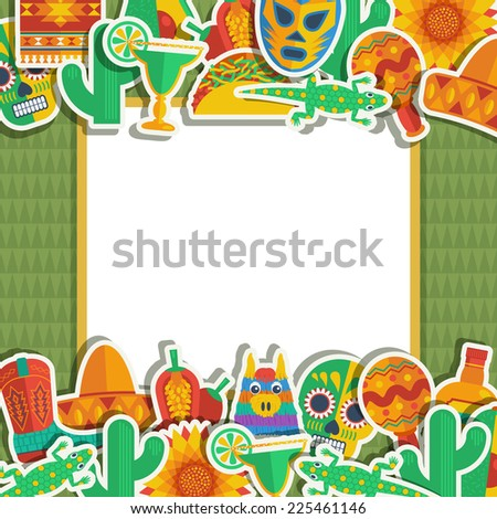 mexican decoration with ornaments and frame for your text - stock vector