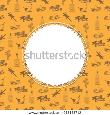 mexican decoration with seamless viva mexico (long live mexico) pattern background and space for text, with clipping path - stock vector