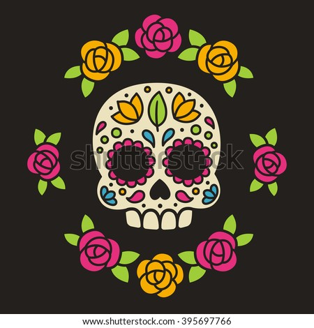 Mexican Dia de los Muertos (Day of the Dead) sugar skull with flowers vector illustration. - stock vector