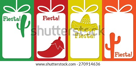 "Mexican ""Fiesta"" (Festival) cut out tag collection in vector format. - stock vector"
