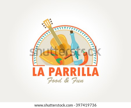 Mexican food logo. Badges, labels, logotype for Mexican food. Mexican vector logo design template  - stock vector