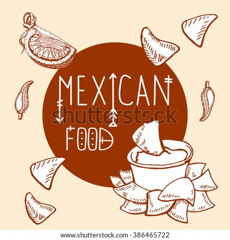 """Mexican food logo design template. tacos, burritos for menu. Hand drawn illustration for your business with text """"Mexican food"""" - stock vector"""