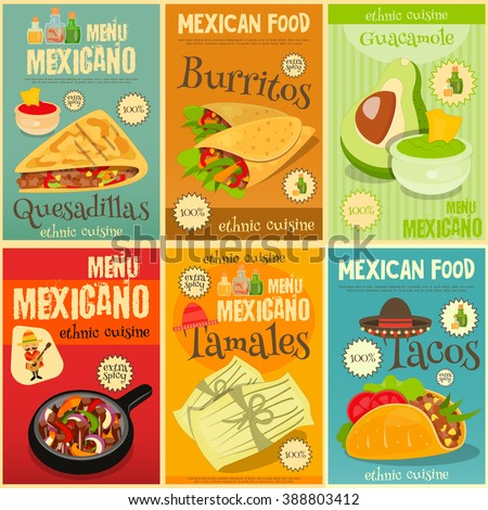 Mexican Food Menu Mini Posters Set with Traditional Spicy Meal. Vector Illustration. - stock vector