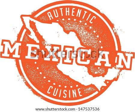 Mexican Food Menu Stamp - stock vector