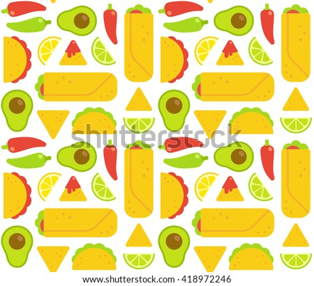 Mexican food seamless pattern. Tacos, burritos, nachos and traditional food ingredients. Flat geometric cartoon style. - stock vector
