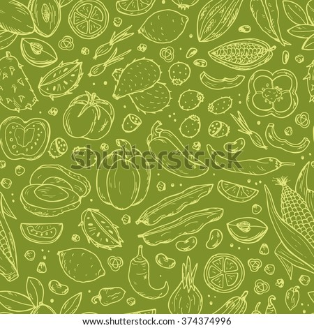 stock vector mexican food vector seamless pattern hand drawn doodle fresh fruits and vegetables 374374996 - Каталог — Фотообои «Еда, фрукты, для кухни»