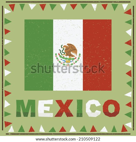 mexican frame decoration with flag and text - stock vector