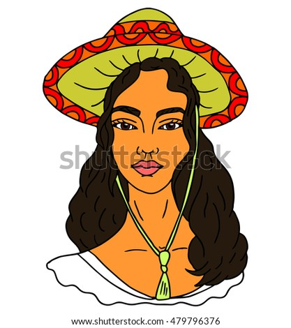 Mexican girl portrait. Vector illustration
