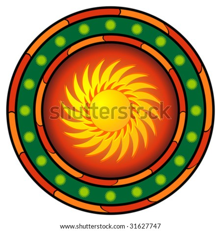 Mexican graphic with sun and hot colors over white - stock vector