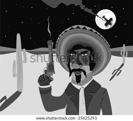 mexican gunman - stock vector