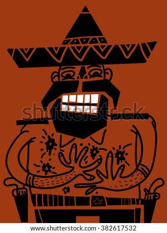 Mexican gunman wounded - stock vector