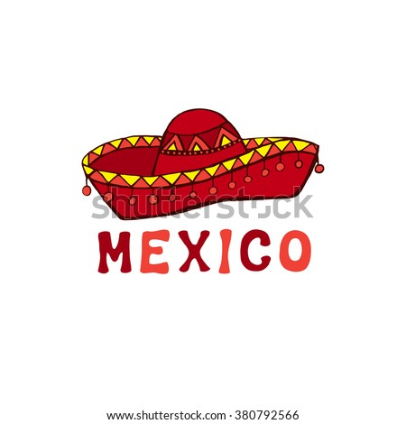 Mexican hat, sombrero, mexican hat isolated. Vector illustration.