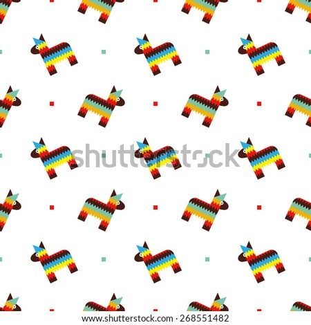 Mexican horse pinata pattern - stock vector