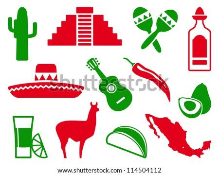 Mexican icon set - stock vector