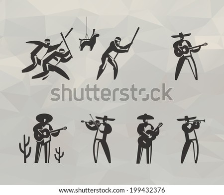 Mexican icons. Vector format - stock vector