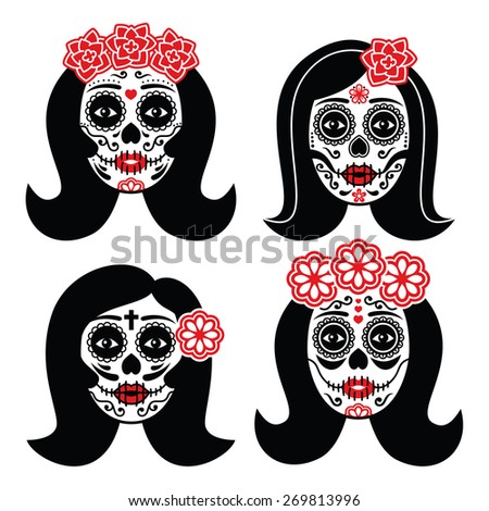 Mexican La Catrina - Day of the Dead girl skull  - stock vector