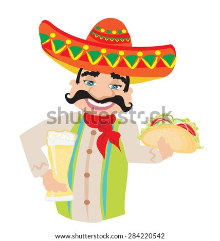 Mexican man holding a cold beer and a taco - stock vector