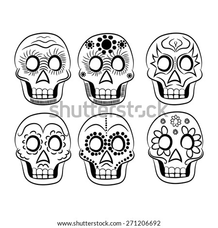 Mexican masks black and white for cinco de mayo on a white background - stock vector