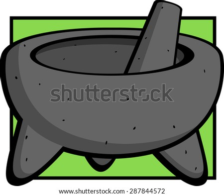 mexican molcajete mortar and pestle - stock vector